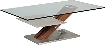 Designer Coffee Table Tempered Glass Walnut Tray Stand