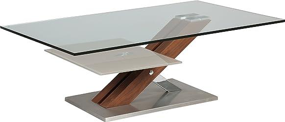 Tavolino design vetro temperato doppio ripiano piede Noce