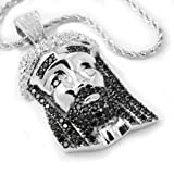 18K White Gold Plated Iced out CZ Black Stones MINI JESUS PIECE Pendant with ROPE Chain
