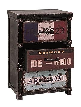 Kommode mit drei Schubladen in schwarz-vintage; Maße (B/T/H) in cm: 40 x 32 x 61