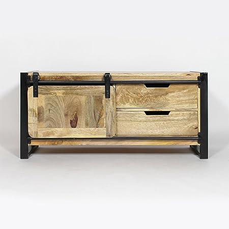 Mueble de televisión industrial madera metal, diseño de Nueva YORK, MR4 () tamaño pequeño