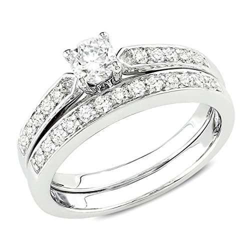 Sterling Silver Diamond Bridal Ring Set (0.5 Cttw, G-H Color, I2-I3 Clarity)