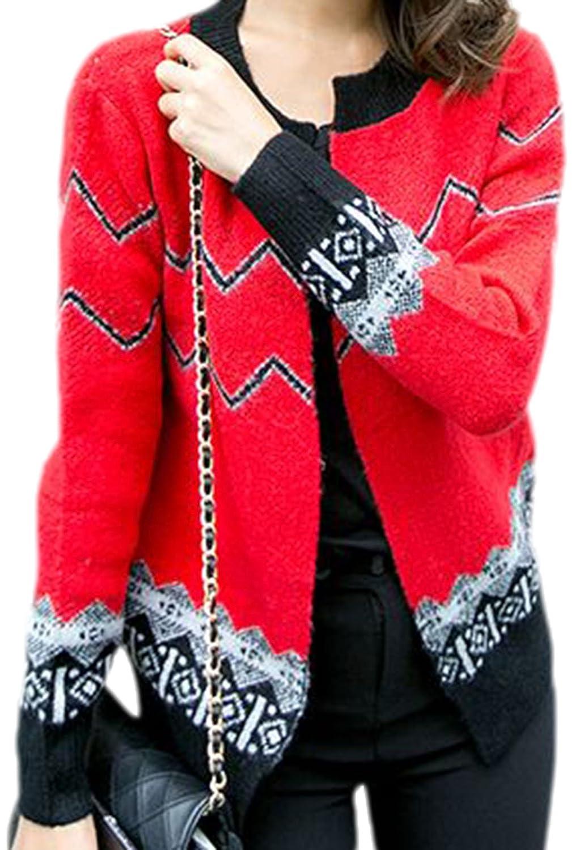 erdbeerloft – Damen Vintage Cardigan mit geometrischem Muster, One Size, Rot online kaufen