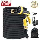 HOUSE DAY Expandable Garden Water Hose With 9-Way Spray Nozzle, Solid Brass Connectors,Heavy Duty Magic Water Hose,(100FT,Black),Hose Hanger (Color: Black, Tamaño: 100FT)