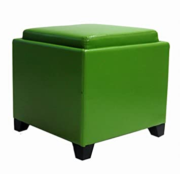 Plutus Contemporary Storage Ottoman with Tray, Green
