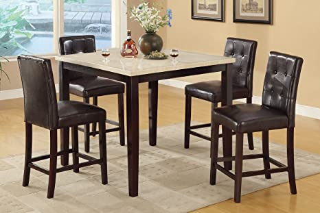 Poundex F2338 & F1144 Faux Marble Top W/ Brown Leatherette Stools Counter Dining Set