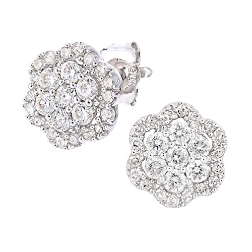 Naava 9ct White Gold Diamond Cluster Flower Design Earrings