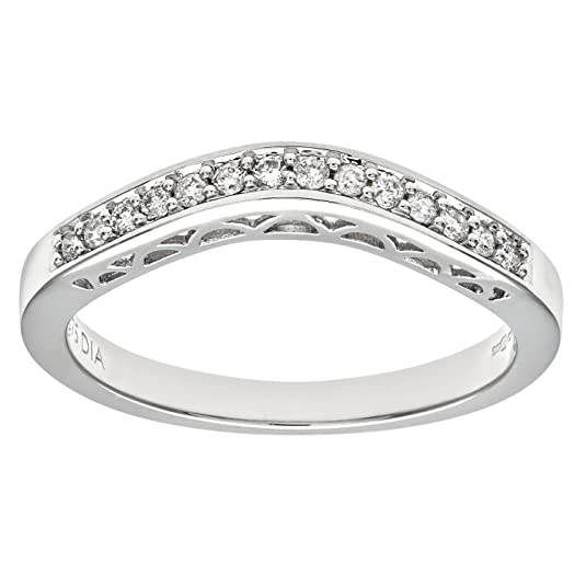 Naava 9ct White Gold 0.13ct Diamond Wishbone Eternity Ring