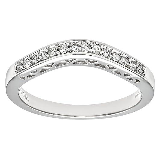 Naava 9ct White Gold 0.13ct Diamond Wishbone Eternity Ring