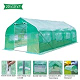 VINGLI 20x10x7 Ft Portable Large Greenhouse, Walk-in Door Tunnel Outdoor Reinforced PE Cover Plant Gazebo Canopy, Backyard Gardening Warm Hot House with Galvanised Sturdy Frame,Windows and Shape Roof (Color: Green, Tamaño: 20x10x7ft Shape)