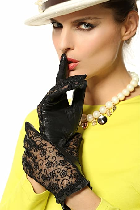 Warmen Women's Medival Lolita Genuine Nappa Leather & lace Unlined Gloves -- $24.99