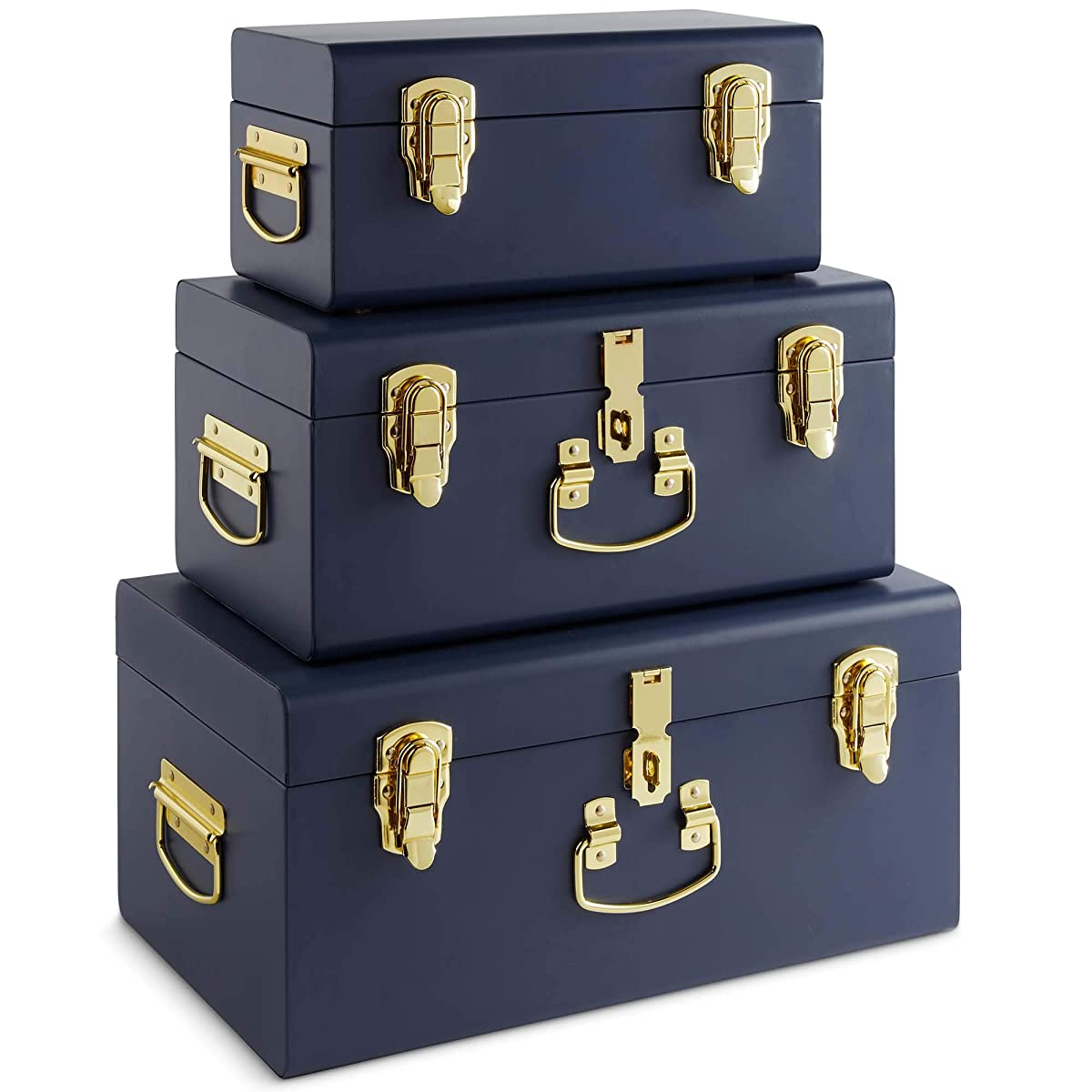 Beautify Set of 3 Navy Blue Vintage Metal Steel Storage Trunk Set Lockable and Decorative with Brass Handles - Bedroom Footlocker, College Dorm or Living Room Trunks