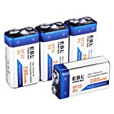 EBL 9 Volt Rechargeable Batteries Everyday Basic 280mAh Ni-MH Battery, 4 Packs