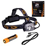Fenix HP25R Rechargeable LED Flashlight 1000 Lumen Headlamp, Spotlight Flood-Beam Red-Light with 18650 Rechargeable Battery and LegionArms USB charging cord (Color: Gray)