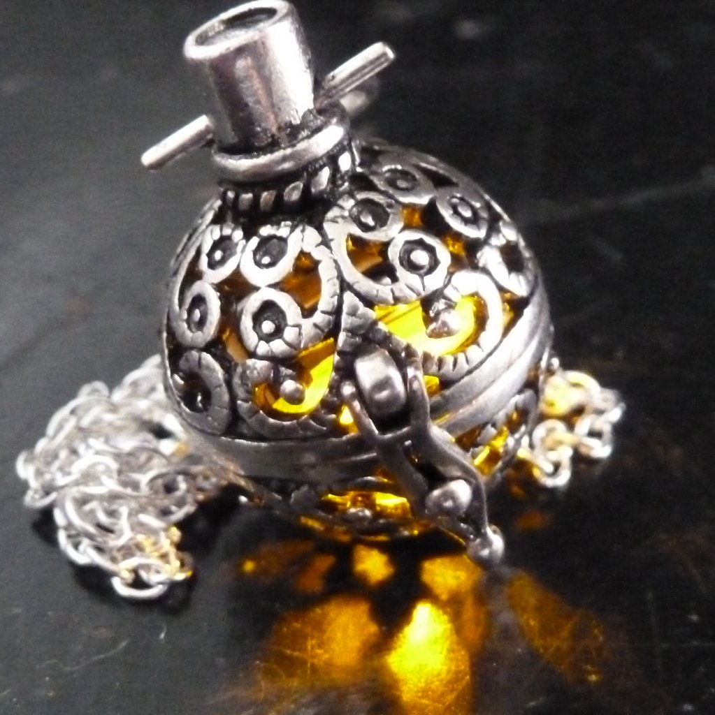 Steampunk FIRE necklace - pendant charm locket jewelry- GREAT GIFT-silver amber