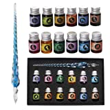 Mancola Glass Dipped Pen Ink Set-Rainbow Crystal Pen with 12 Colorful Inks for Art, Writing, Signatures, Calligraphy, Decoration, Gift Ma-13