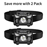 2 Pack of Rechargeable Headlamp, 500 Lumens White Cree LED Head lamp with Red light and Motion Sensor Switch, Perfect for Running, Hiking, Lightweight, Waterproof, Adjustable Headband, 5 Display Modes (Color: White)