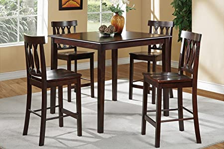 Poundex F2259 Rich Brown Finish 5 Piece Counter Height Dining Set
