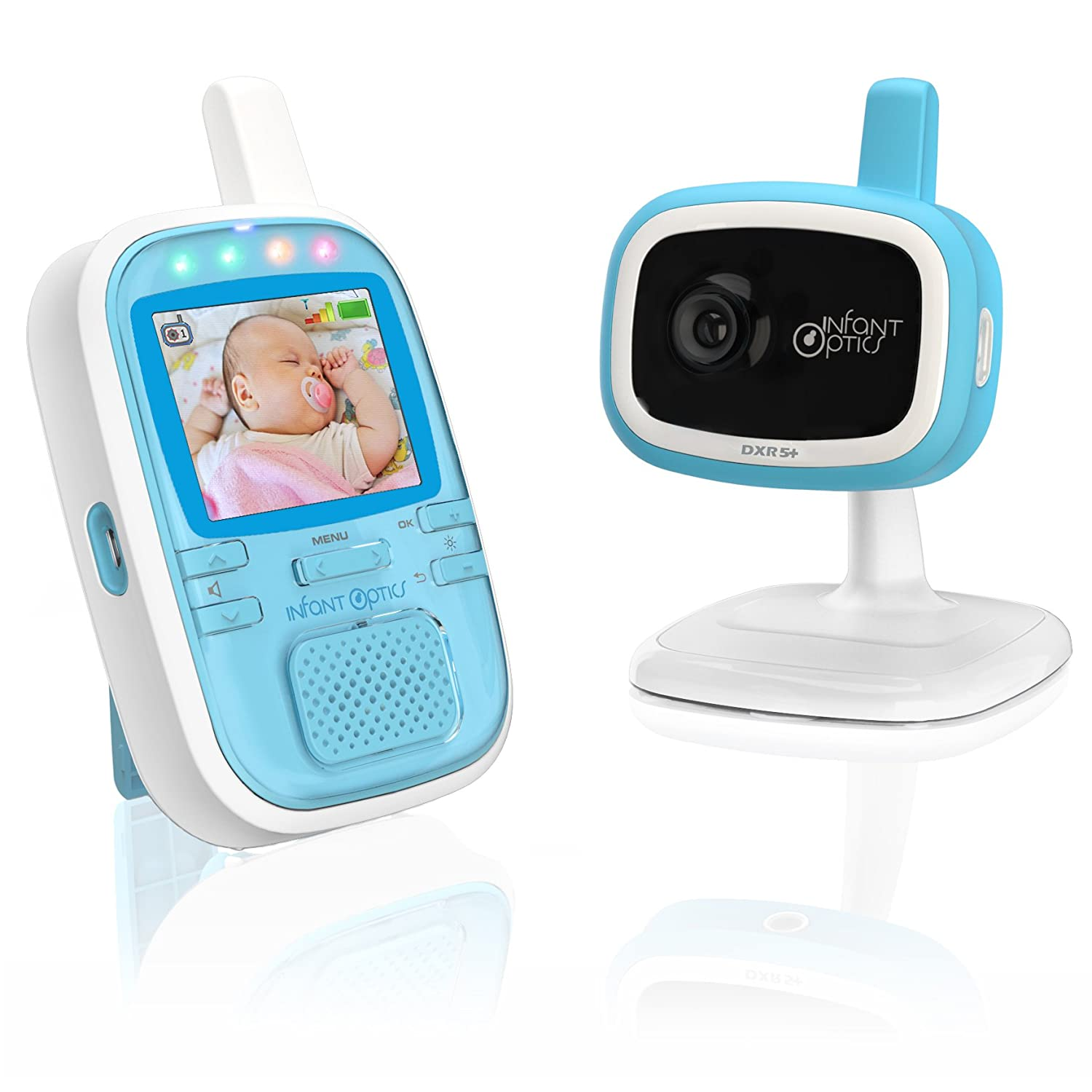Infant Optics DXR-5+ Portable Video Baby Monitor, Blue/White