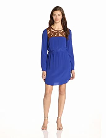 Twelfth Street by Cynthia Vincent Women's Leather Yoke Dress, Cobalt, Petite