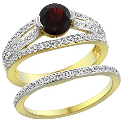 14ct Yellow Gold Natural Garnet 2-piece Engagement Ring Set Round 6mm, sizes J - T