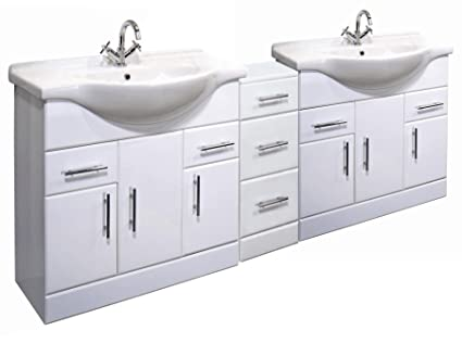 2050mm High Gloss White Bathroom Furniture Set - 2 x Vanity Basin Cabinet Unit & Cupboard Drawer