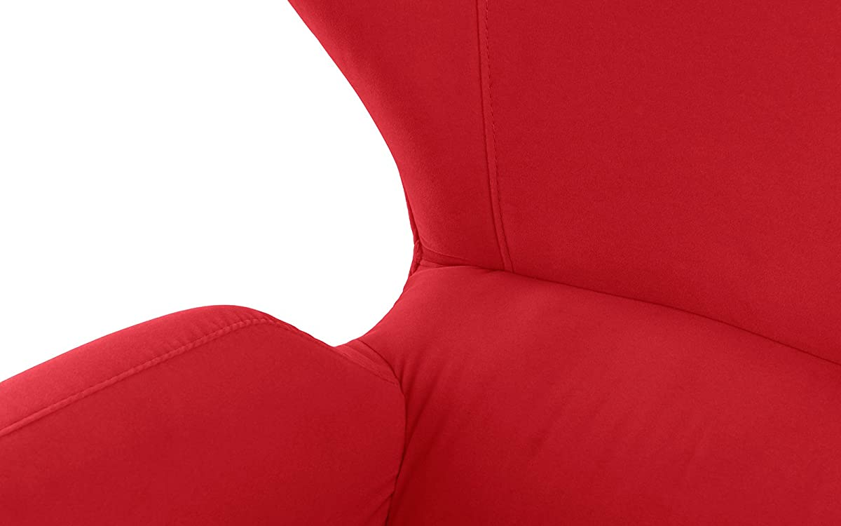 Mid-Century Modern Velvet Accent Armchair with Shelter Style Living Room Chair (Red)