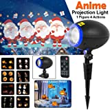 Christmas Projector Lights, LED Animated Projector Light, IP65 Waterproof Motion Outdoor Indoor Landscape Lamp Projector with Remote Control Halloween Birthday Party Holiday and Garden Decoration (Color: Black)