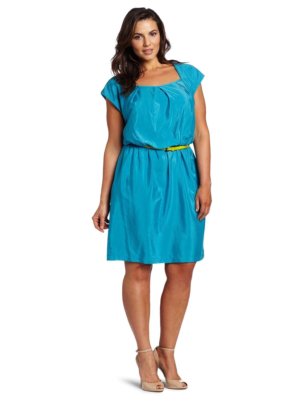 Color Block Dresses Plus Size Plus-size Cap Sleeve Dress