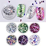 6Pcs/Set Manicure Decor Triangle Paillette Iridescent Flakes Nail Sequins