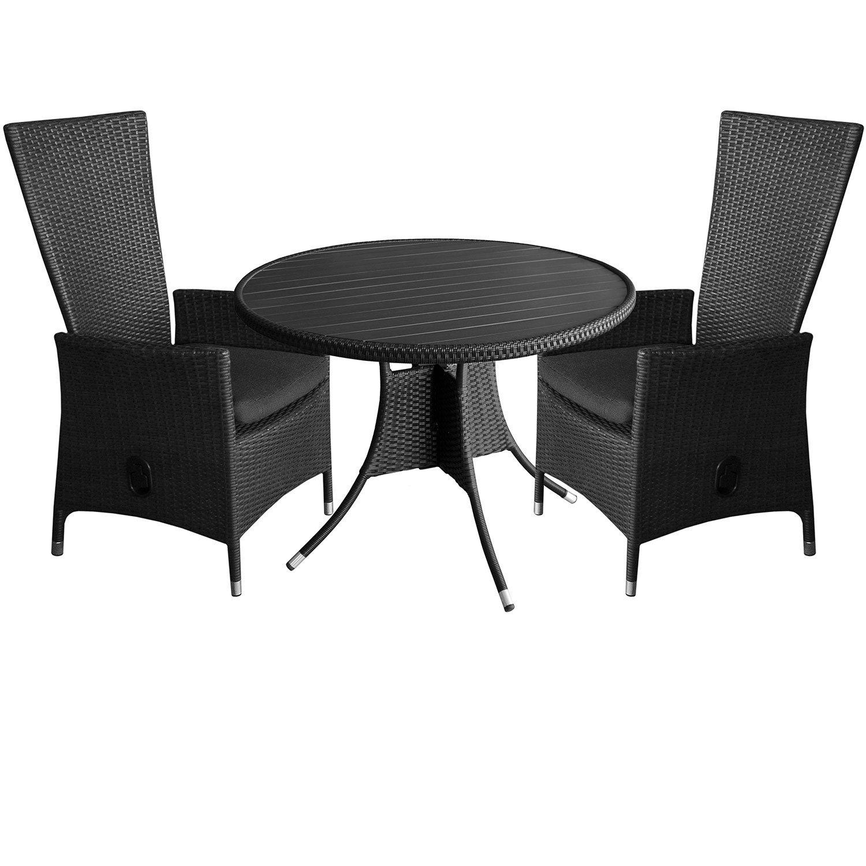 3tlg. Gartengarnitur Aluminium Polyrattan Polywood Gartentisch rund Ø105cm 2x Polyrattan Sessel Lehne stufenlos verstellbar inkl. Sitzkissen