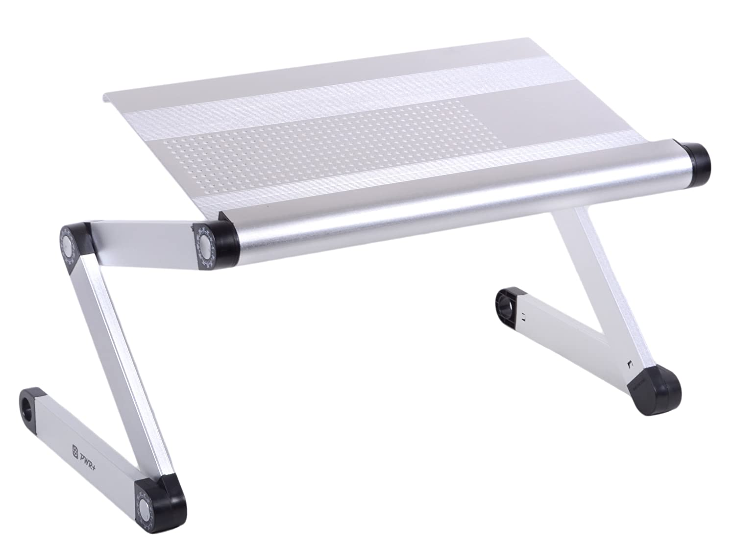 Pwr+ Portable Folding Vented Laptop Notebook Book Table Desk Tray Stand - Aluminium Alloy - Adjustable-Angle Legs - (Vented Silver) at Sears.com