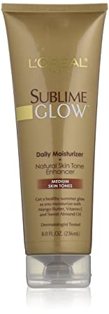 L'Oreal Paris Sublime Glow Daily Body Moisturizer + Natural Skin Tone Enhancer, Medium, 8.0 Ounce
