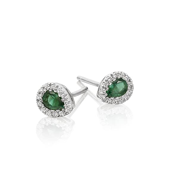 0.30ct Pear Emerald Earrings with Diamond Halo 9K White Gold