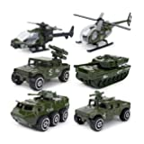 JQGT Diecast Military Vehicles Army Toy 6 in 1 Assorted Metal Model Cars Tank Jeep Attack Helicopter Panzer Playset for Kids Toddlers (Color: Army)