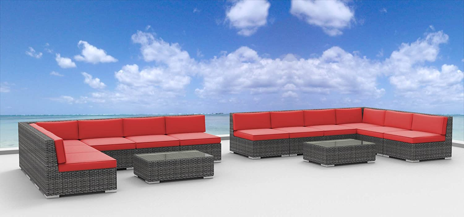 www.urbanfurnishing.net Urban Furnishing - VENICE 14pc Modern Outdoor Backyard Wicker Patio Furniture Sofa Sectional Couch Set - Coral Red at Sears.com
