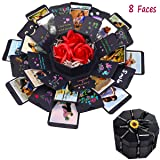 SEEHAN Explosion Box Gift Box DIY Photo Album Scrapbooking, Explosion Photo Box with 8 Faces Handmade Scrapbook for Love Memory Birthday Anniversary Valentine Christmas Gift (Color: Black)