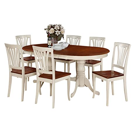 East West Furniture PLAV5-WHI-W 5-Piece Dining Room Table Set
