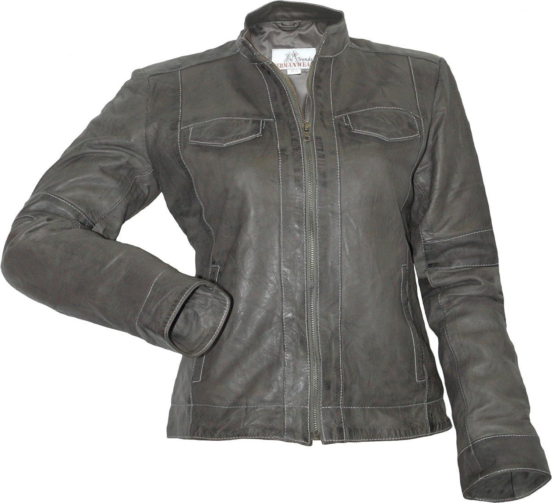 Damen Lederjacke Trend Fashion echtleder Jacke aus Lamm Nappa Leder Anthrazit jetzt bestellen