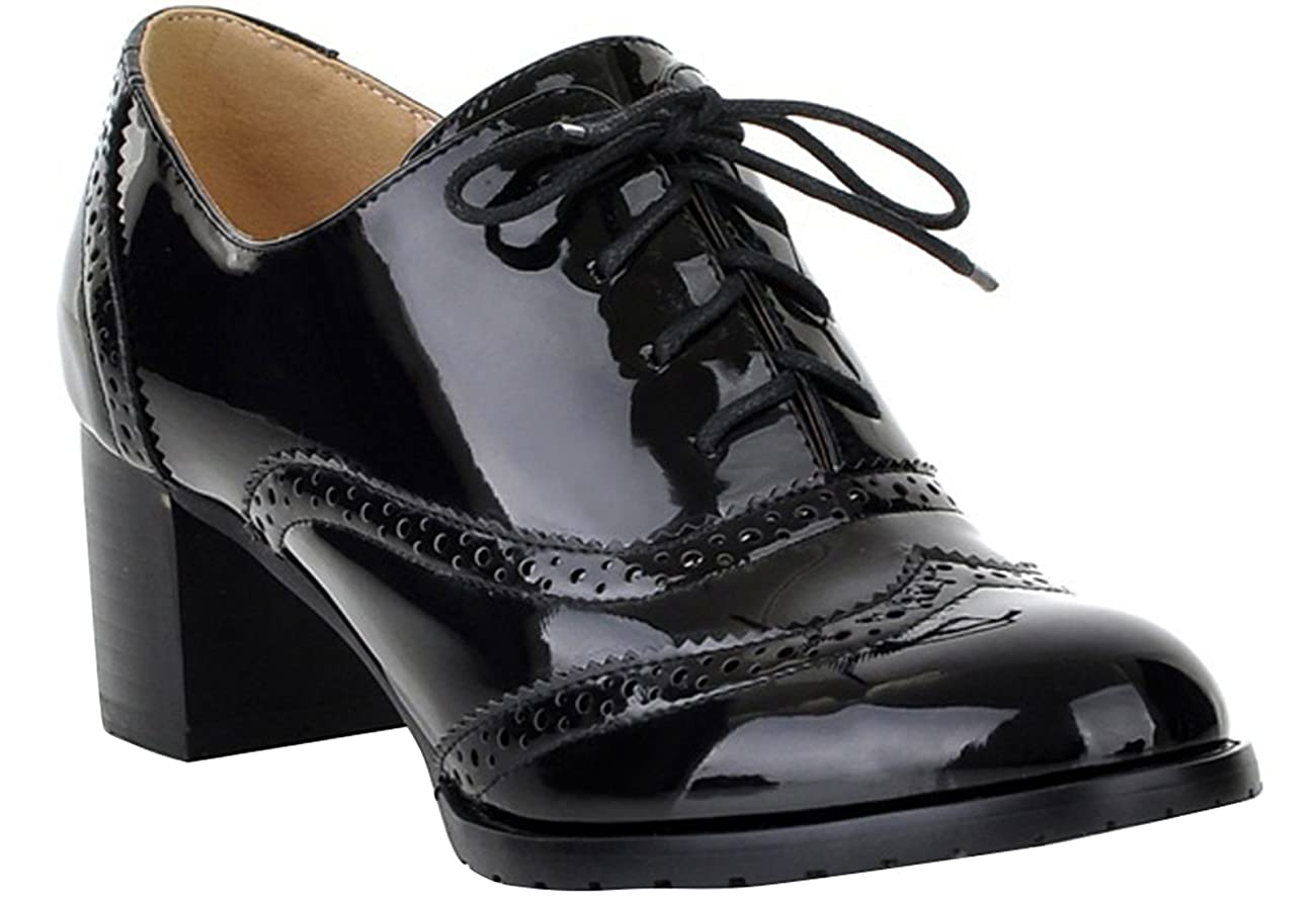 Women's Oxford Dress Pumps WGWJM-Patent Leather-Mid-heel-Hallowmas Shoes 0