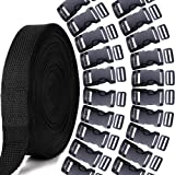 YGDZ 1 Inch 10 Yards Nylon Webbing Strap with 20pcs 1 Inch Flat Side Release Plastic Buckles with Tri-Glide Slides, Plastic Buckles Set for DIY Making Luggage Strap Pet Collar Backpack Repairing (Color: Black, Tamaño: 1)