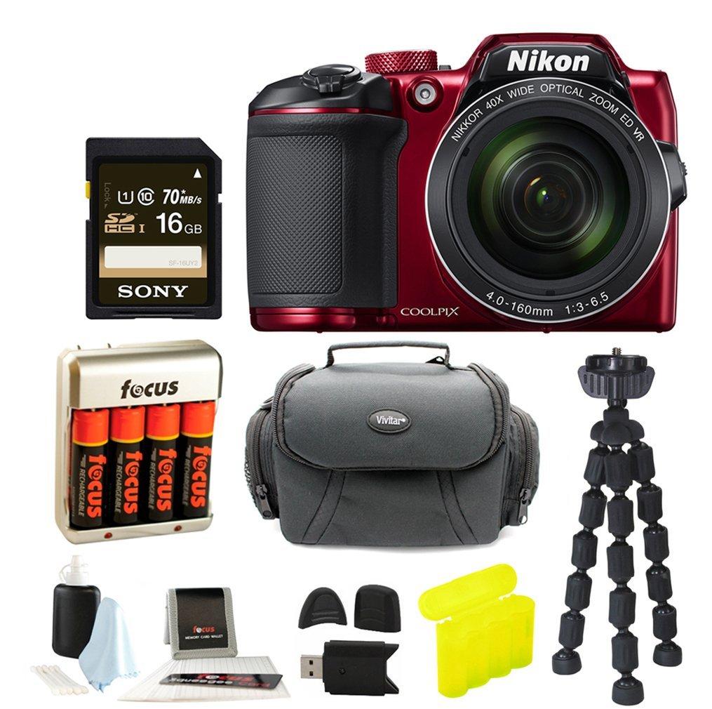 Nikon COOLPIX B500 Digital Camera (Red) with Gadget Bag Focus Accessory Bundle