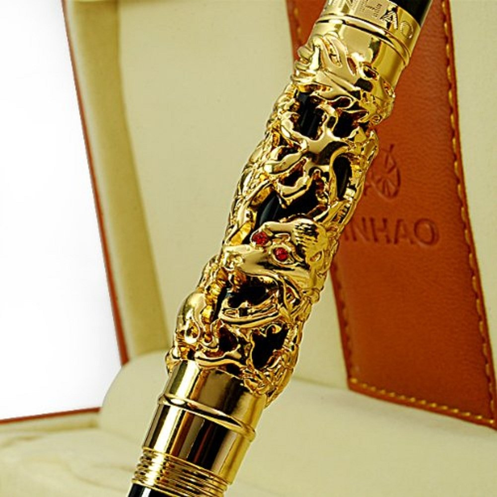Luxury Golden Chinese Ming Dynasty Emperor Style Dragon Play Jade Ball Fountain Pen Fine Tip 4