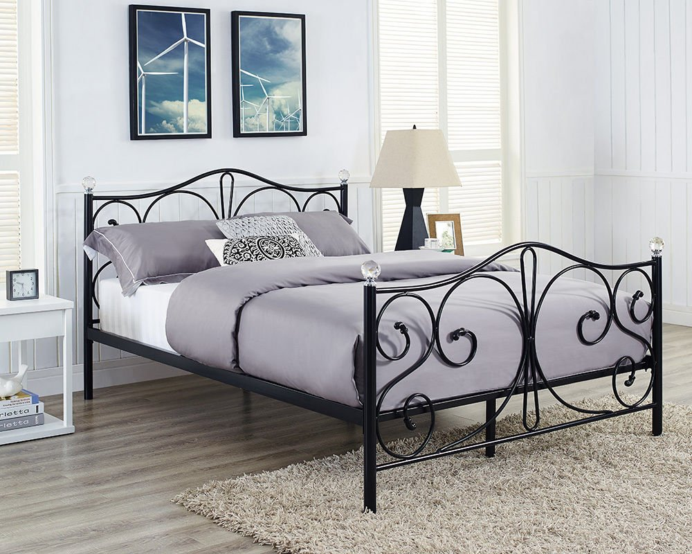 Metal Bed Frame 5ft Kingsize In Black With Crystal Finials       reviews and more info