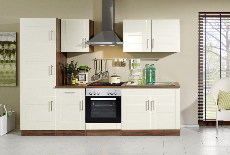 Held Möbel 690.6034 Küchenzeile 270 in Hochglanz-creme / nussbaum mit E-Geräten