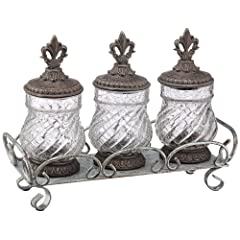 Set of 3 Bronze Fleur De Lis Canister Set
