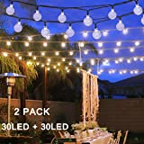 Solar Globe String Lights, 30 LED 20ft Crystal Ball Waterproof Outdoor Fairy String Lights Solar Powered Christmas Decoration Lights for Xmas Tree Garden Home Lawn Wedding Party, 2-Pack(White) (Color: 2PACK-Crystal Ball-White, Tamaño: 30 LED)