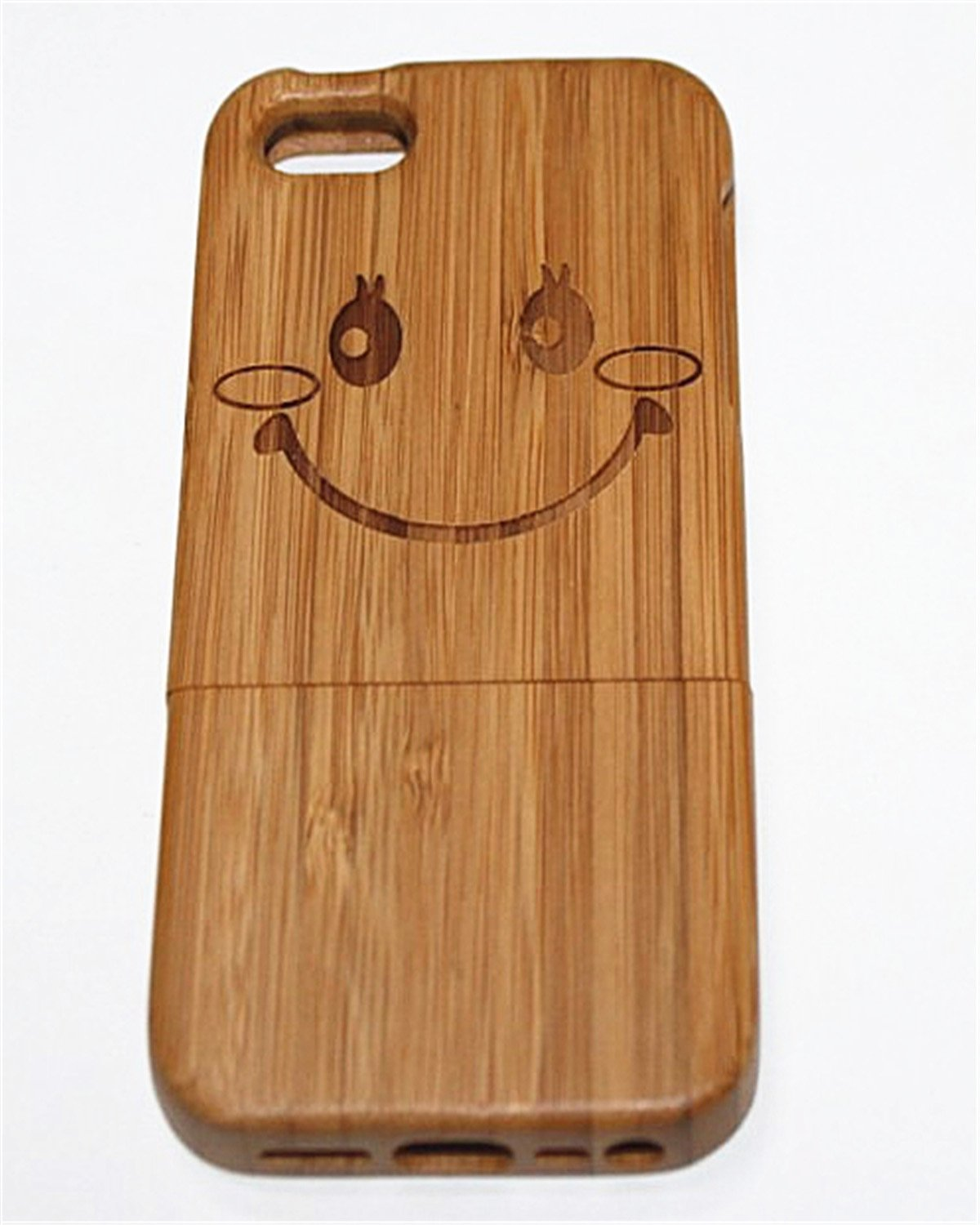 iPhone 5S Case, Firefish Natural Handmade Hard Wood Case Cove With Durable Material Shock Protective Ultra Slim Fit For iPhone 5S ( With A Stylus) -Smiling Face