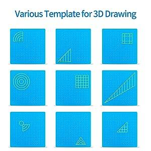 3D Printing Pen Mat, Splaks 2 Pack Silicone Design Mat Basic Template, Larger Heat Resistant 3D Pen Mat Drawing Tools with 3D Pen Book, 4 Silicone Finger Caps (Color: Mat+Book, Tamaño: mat+book)