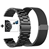 Gear S3 Frontier / Classic Bands - Small 22mm Metal Steel Band+Milanese Loop Mesh Bracelet Strap for Gear S3 Frontier SM-R770 / Classic SM-R760+Tempered Glass (Black Metal+ Mesh-Small) (Color: 1*Black Metal Band + Black Milanese Band)
